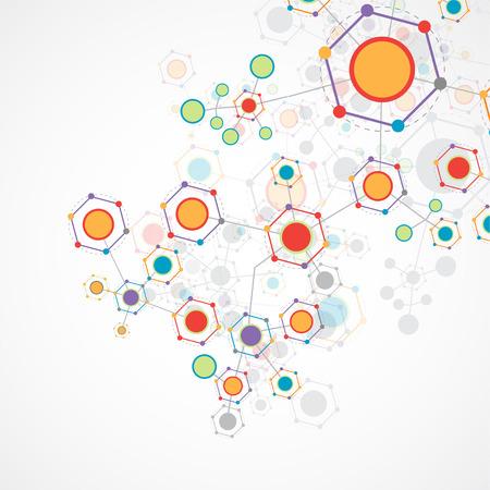 Netzwerk sechseckigen Farbtechnologie Kommunikation Hintergrund Vektorgrafik