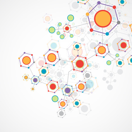 Network hexagonal color technology communication background