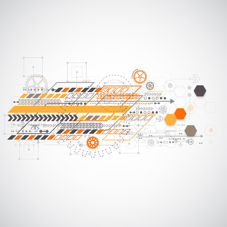Abstract background with various technological elements. Vector illustration Vector