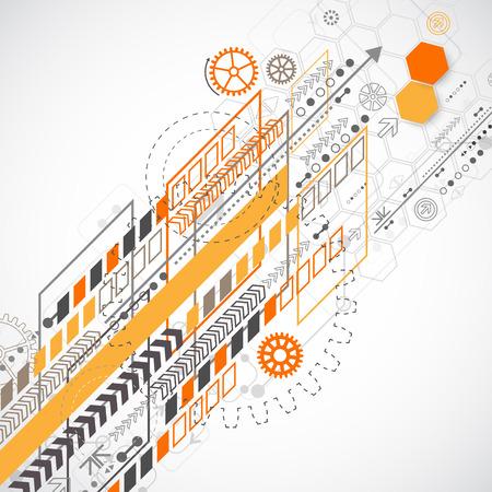 tecnolog�a informatica: Fondo abstracto con diversos elementos tecnol�gicos. Ilustraci�n vectorial