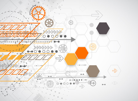 computer science: Abstract background with various technological elements. Vector illustration Illustration