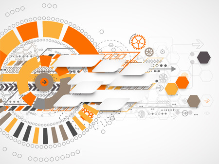 Abstrakter Hintergrund mit verschiedenen technologischen Elementen. Standard-Bild - 35866577