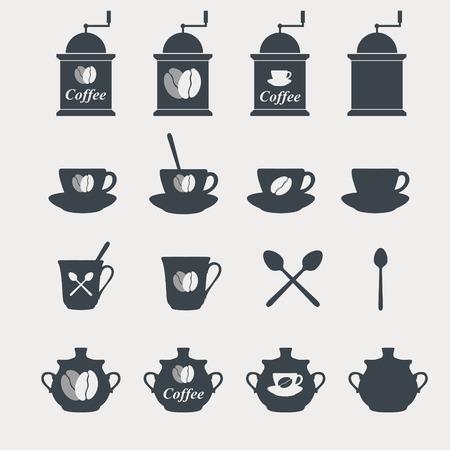 sugar spoon: Set of coffee icons. Vector
