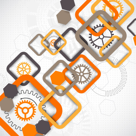 Abstract technology square background with cogwheels. Vector Vector