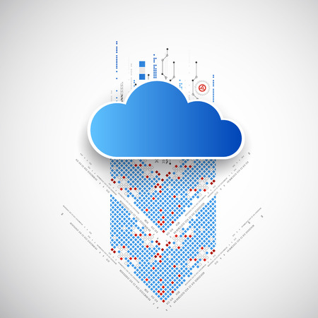 pixelated: Web cloud banner template. Vector Illustration