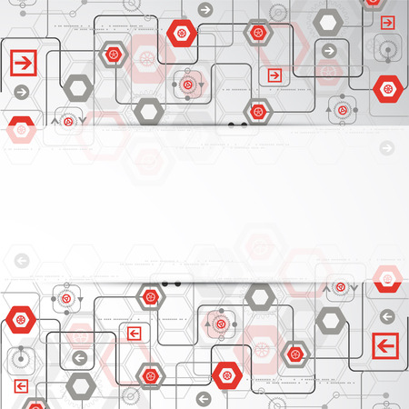 Abstract background with various technological elements. Vector Vector
