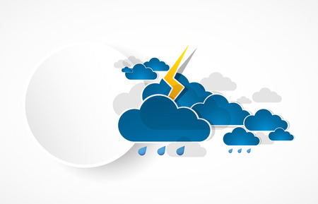 Bad weather background. sky with clouds and lightnings Illustration