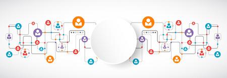 réseautage: concept de réseau. Les médias sociaux. Vecteur