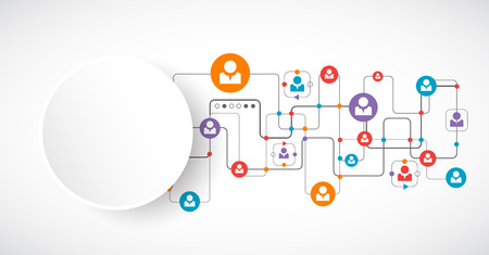 mobile media: Network concept.  Social media. Vector