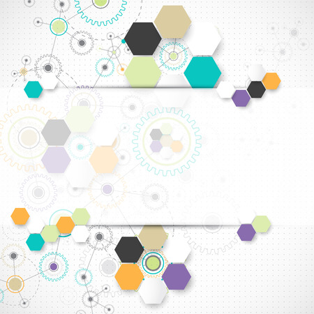 hexagon background: Abstract technological background. Vector Illustration