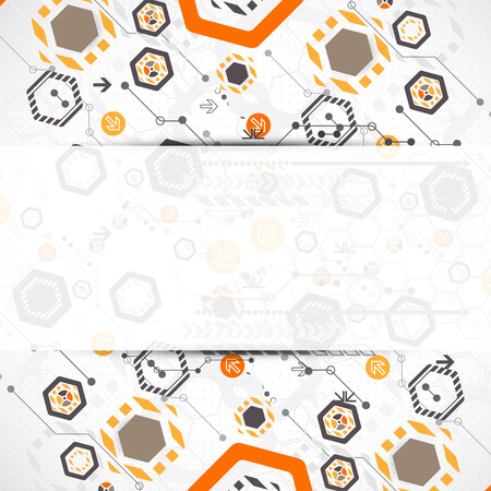 new technology: New technology hexagonal business background. Vector Illustration