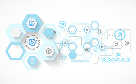 Abstract blue hexagon futuristic background for design works. Vector  イラスト・ベクター素材