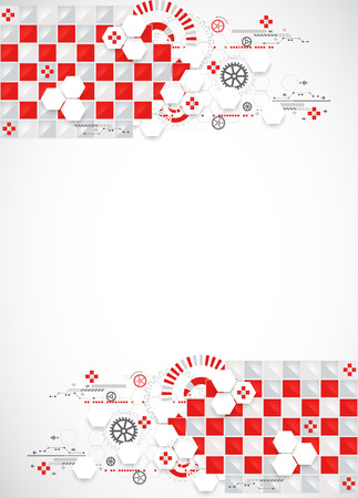 information systems: Abstract technology background with red squares and elements. Vector
