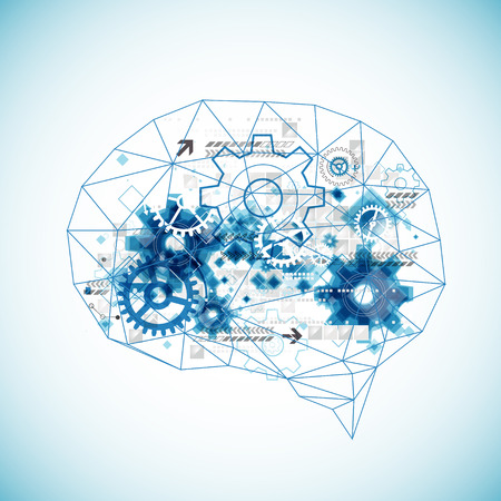 brain: Abstract digital brain,technology concept. Vector Illustration