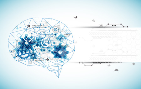 추상 디지털 뇌, 기술 개념. 벡터
