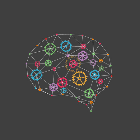 cogs: Abstract digital brain,technology concept. Vector Illustration