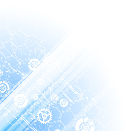 business template: Blue technology business template background. Vector