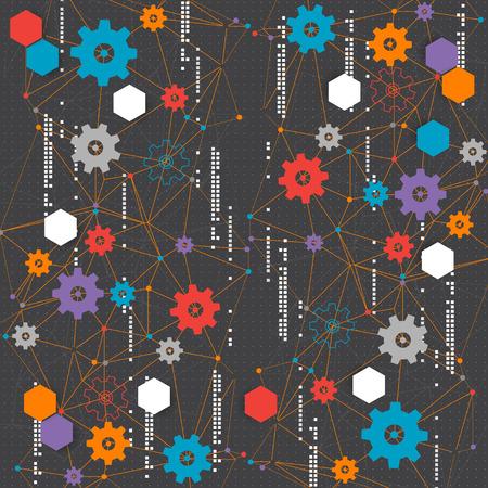 Abstract cogwheel technology net background. Vector Vector