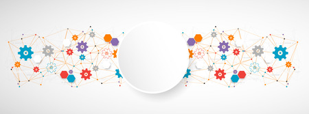 communication concept: Abstract cogwheel technology net background. Vector