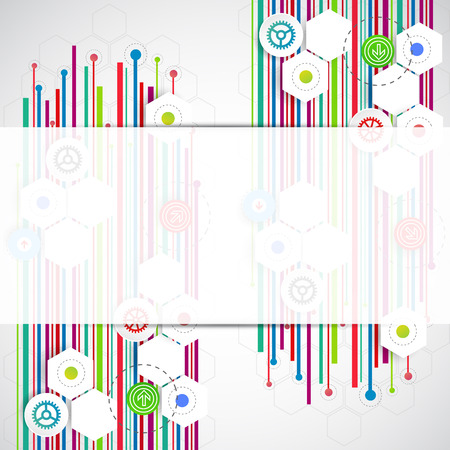 Color lines technology abstract background. Vector Vector