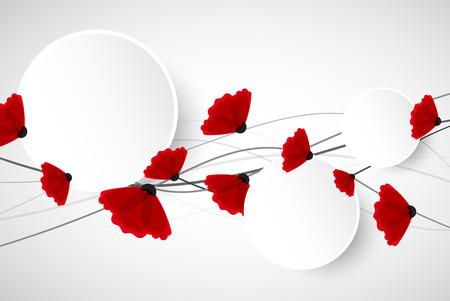 sfondo natura: Natura sfondo astratto. Fiori di papavero rosso. Vettore