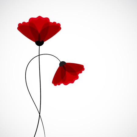 Abstracte aard achtergrond. Rode papaver bloemen. Vector