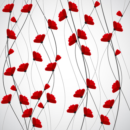 poppy flowers: Abstract nature background. Red poppy flowers. Vector