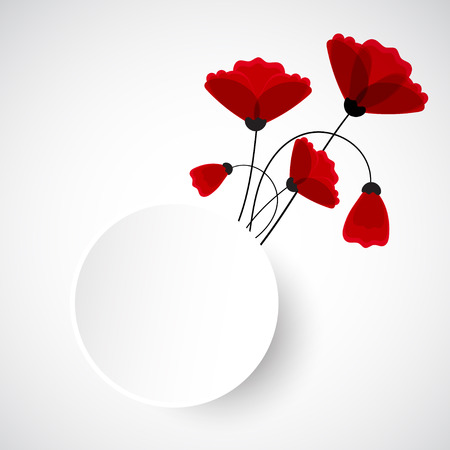 red poppy: Abstract nature background. Red poppy flowers. Vector