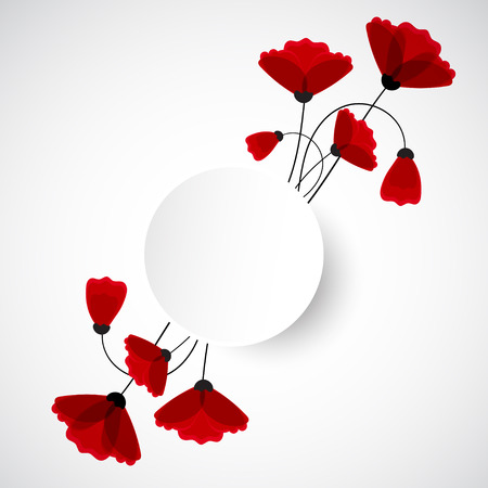 doğa arka: Abstract nature background. Red poppy flowers. Vector