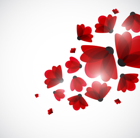 doğa arka: Abstract nature background. Red flowers. Vector Çizim