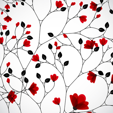 doğa arka: Abstract nature background with red flowers. Çizim