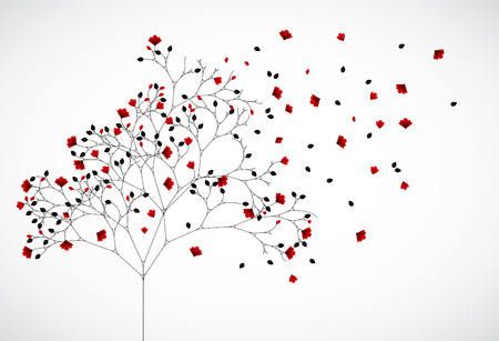 Abstract nature background with red flowers. Illustration