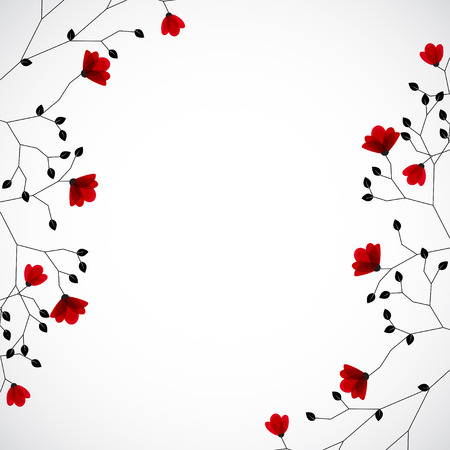 passion  ecology: Abstract nature background with red flowers. Vector