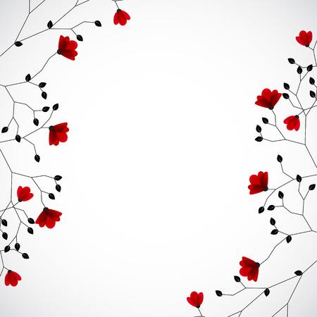 Abstracte karakter achtergrond met rode bloemen. Vector