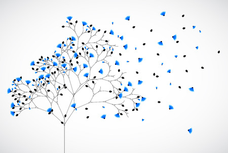 passion ecology: Abstract nature background tree with blue flowers. Vector