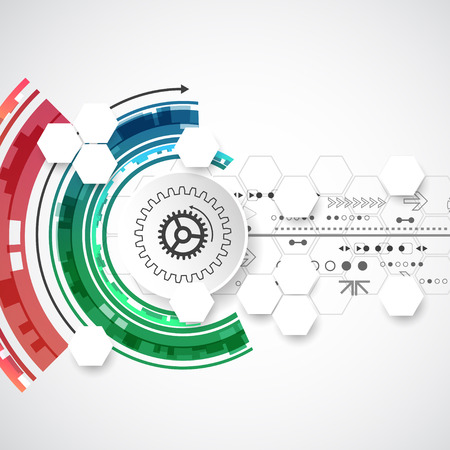 Abstract technological background with various elements. Circle theme vector. Illustration
