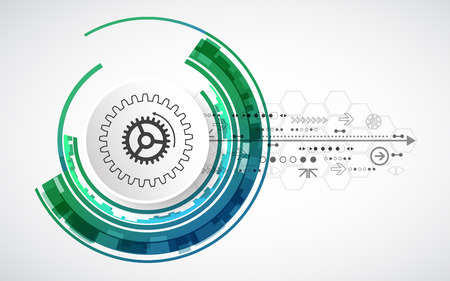 future technology: Abstract technological background with various elements. Circle theme vector. Illustration