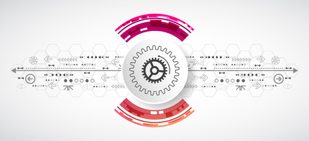 Abstract technological background with various elements. Circle theme vector. Ilustração