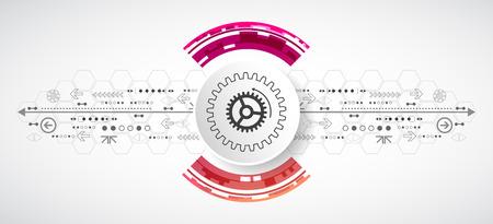 Fondo tecnológico abstracto con diversos elementos. Círculo del vector tema.