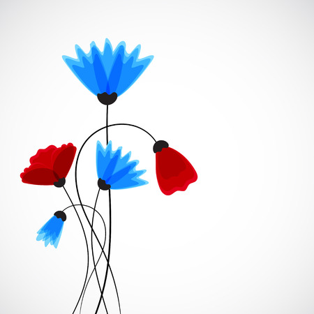Cornflower: Abstract nature background. Field flowers Vector