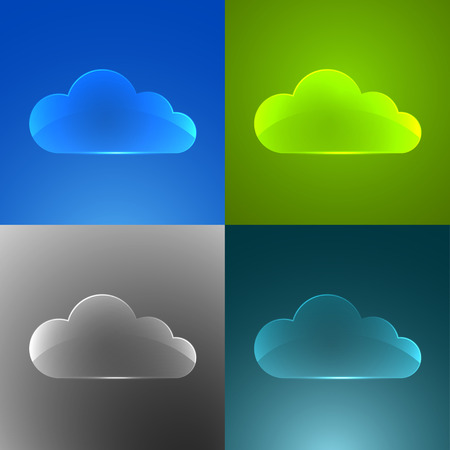 Set of color glass clouds. Vector background. Vector