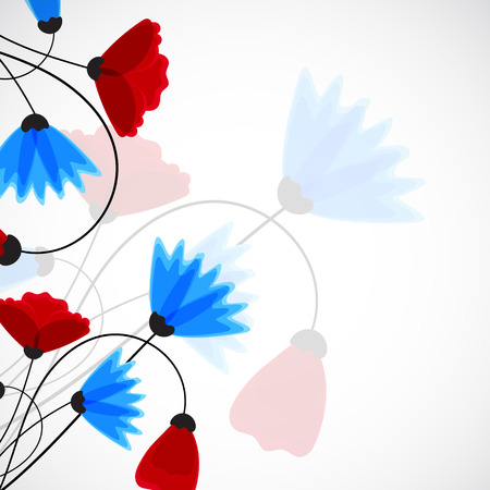 field of flowers: Abstract nature background. Field flowers. Vector Illustration