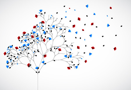 passion ecology: Abstract nature background with red and blue flowers Vector