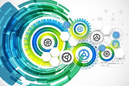 blue green: Abstract technology business template background. Vector illustration