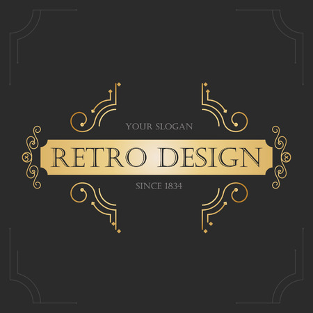 golden border: Art deco vintage design of retro flourishes frames. Vector Illustration