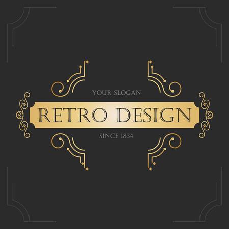 letras de oro: Diseño del art déco del vintage retro florece marcos. Vector