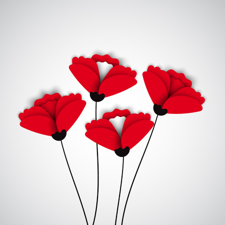 florescence: Abstract nature background. Red poppy flowers. Vector
