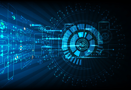 Blue abstract technological background with various technological elements Illustration
