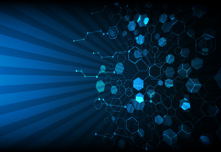 network design: Blue abstract technological background with various technological elements Illustration