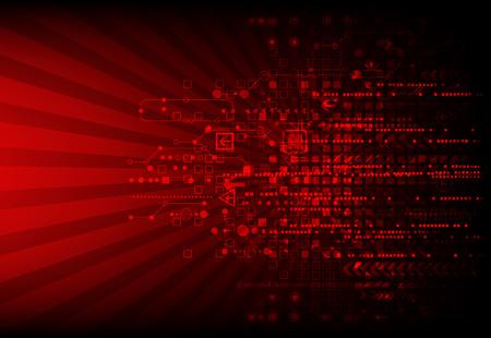 Červené abstraktní technologické zázemí s různými technologickými prvky